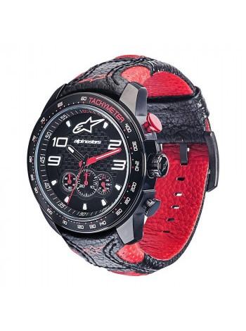 Часы Alpinestars Tech Watch Chrono Leather Strap Black-Red