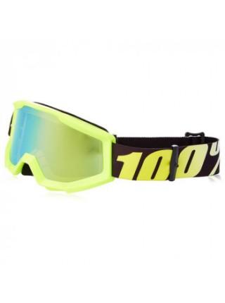 Мотоочки подростковые 100% Strata Jr. Neon Yellow - Mirror Gold Lens