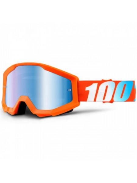Мотоочки подростковые 100% Strata Jr. Orange - Mirror Blue Lens