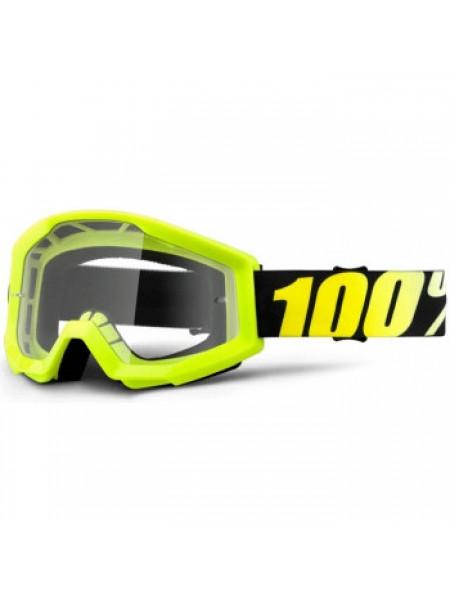 Мотоочки 100% Strata Moto Goggle Neon Yellow - Clear Lens