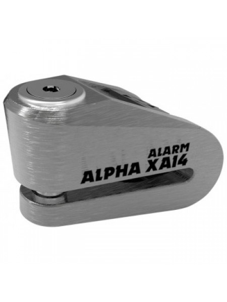 Мотозамок Oxford Alpha XA14 Alarm Stainless disc lock (14mm pin) Grey