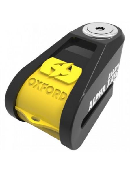 Мотозамок Oxford Alpha XA14 Alarm Stainless disc lock (14mm pin) Black-Yellow