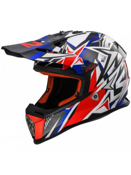 Мотошлем детский LS2 MX437J Fast Mini Strong White Red Blue