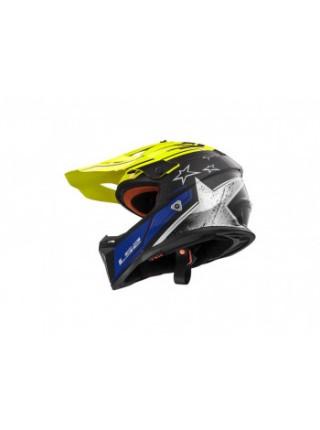 Мотошлем LS2 MX437 Fast Core Matt Black Hi Vis Yellow