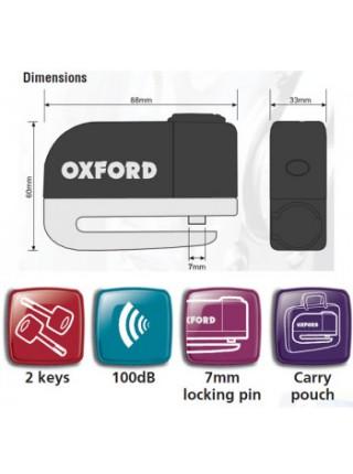Мотозамок на диск з сигналізацією Oxford Screamer Chrome