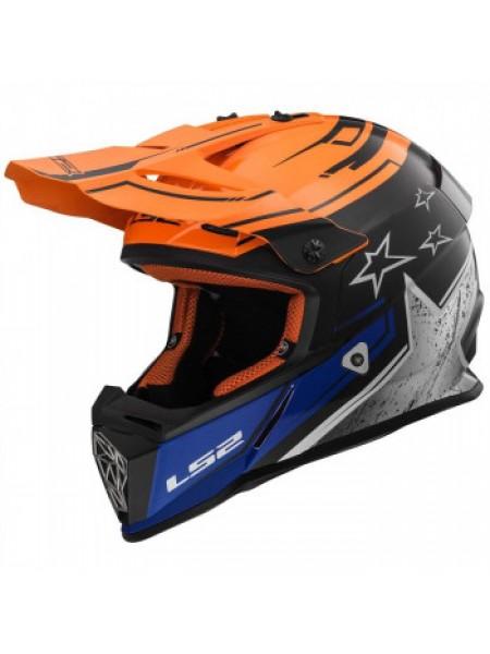 Мотошлем LS2 MX437 Fast Core Black Orange