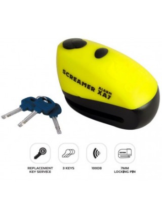 Мотозамок Oxford ScreamerXA7 Alarm Disc Lock Yellow-Matt Black