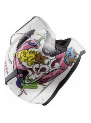 Мотошлем дитячий LS2 FF353 Rapid Mini Crazy Pop White Pink