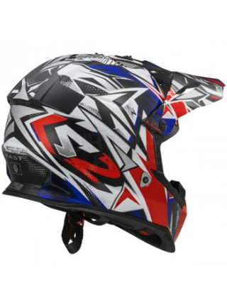 Мотошлем LS2 MX437 Fast Strong White Red Blue