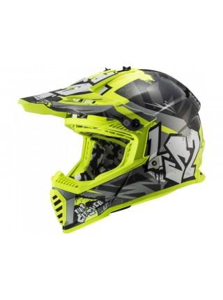 Мотошлем LS2 MX437 Fast EVO Crusher Black-Hi-Vis Yellow L