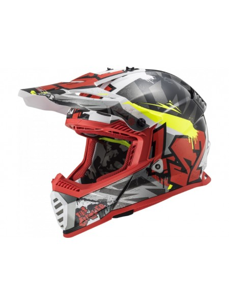 Мотошлем LS2 MX437 Fast EVO Crusher Black-Red L