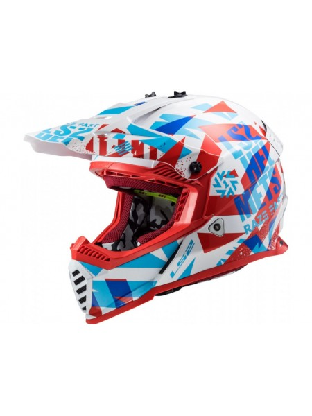 Мотошлем LS2 MX437 Fast EVO Funky Red-White L