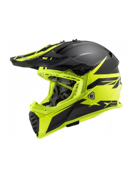Мотошлем LS2 MX437 Fast EVO Roar Matt Black-Hi-Vis Yellow L