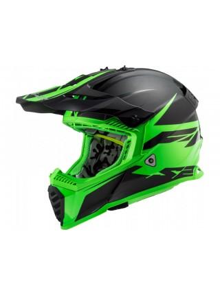 Мотошлем LS2 MX437 Fast EVO Roar Matt Black-Green L